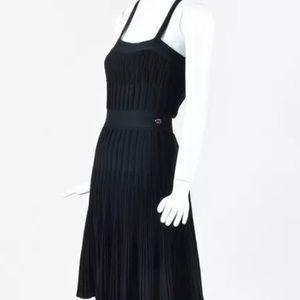 Chanel Cotton Blend Black Stretch Ribbed CC  Dress